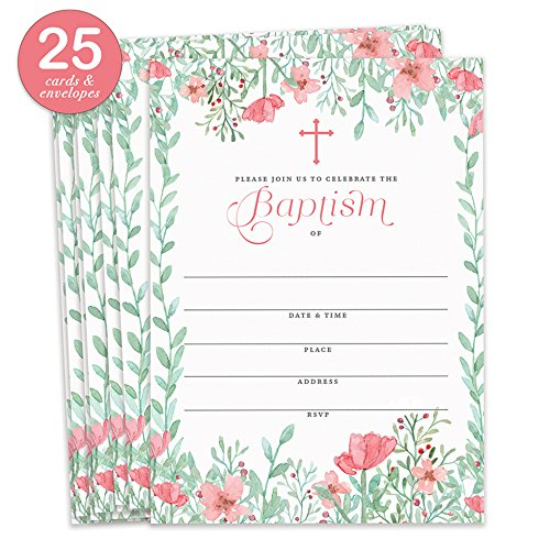 Girl Baptism Invitations with Envelopes ( Pack of 25 ) Pink Floral Christening Invite Large 5x7