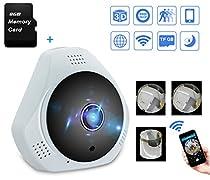 Mbangde 360 Degree Panoramic IP Camera, 960P 3D VR WI-FI Camera, 1.3MP FIsheye Wireless Smart Camera Hand Cruise Motion Detection, with 8GB TF Card