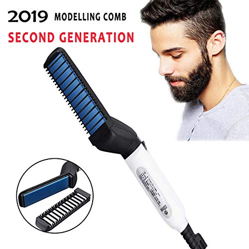 Quick Hair Styler for Men MIRUOC Electric Beard Straightener Massage Hair Comb Beard Care Comb Multifunctional Curly Hair Straightening Comb Curler For DIY Flexible Modeling