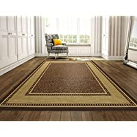 Ottomanson Ottohome Collection Contemporary Bordered Design Non-Skid (Non-Slip) Rubber Backing Modern Area Rug, 8'2' X 9'10', Chocolate Brown