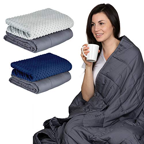 Cheap WEIGHTED BLANKET with REMOVABLE MINKY COVER. Faster & Deeper Sleep for Children between 40-70 lbs. Price Includes Ultra-Soft Cooling Duvet for Maximum Comfort. 36 x 48 5 lbs with Grey Comforter Black Friday & Cyber Monday 2019
