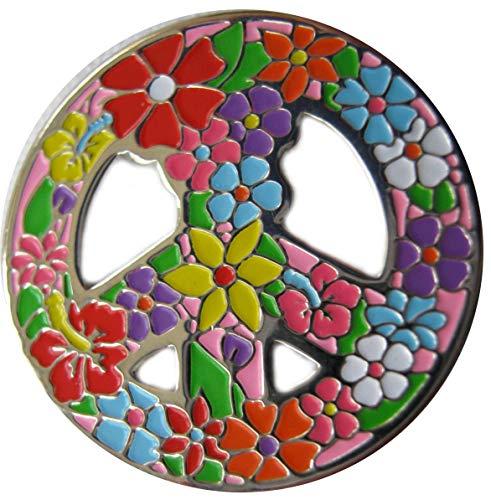 Be The Ball 4U (Peace Love Golf MagneticGolfBallMarkerHatClip & Golf Ball Marker | Achievement Golf Circle Hat Clip (Flower Power)