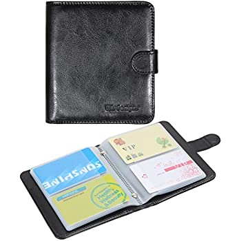 Amazon business card book organizer wisdompro premium pu business card book organizer wisdompro premium pu leather wallet name credit id card holder case reheart Images