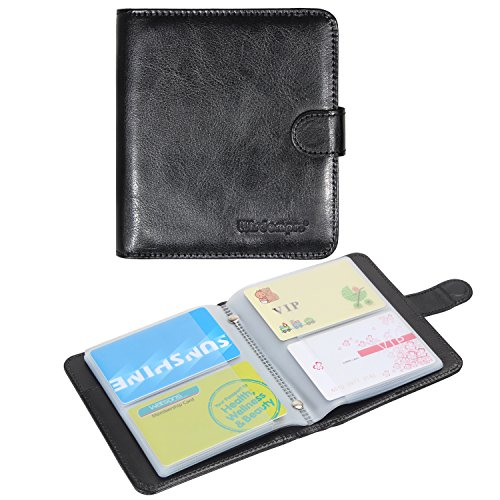 Leather Credit Card Organizer - Business Card Book Organizer, Wisdompro Premium PU Leather Wallet Name Credit ID Card Holder Case with Magnetic Shut for 128 Business Cards (Build in 64 Card Slot & 14 Small Cells for Memory Cards)