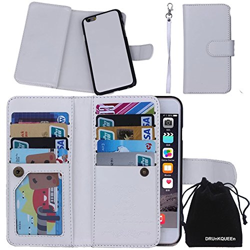 "iPhone 6s Plus Case, DRUnKQUEEn TM Wallet PU Leather Flip Card Holder Clutch Purse, 2 in 1 Detachable Magnetic Back Cover for iPhone 6PLUS / iPhone 6sPlus (5.5"")"