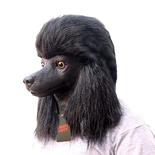 Latex Dog Costume (CreepyParty Deluxe Halloween Costume Party Latex Animal Dog Head Mask Poodle)