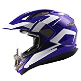 Dual Sport Motorcycle Motocross Off Road Full Face Helmet Racing Blue White,Size XL