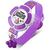 GRyiyi Girls Watch Novelty Flower Shape Digital Wrist Watch, Purple