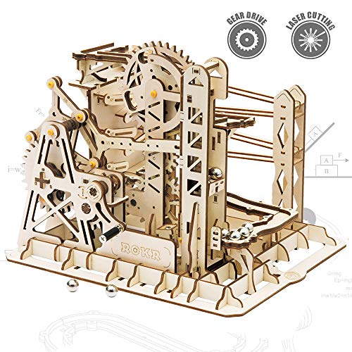 Christmas Fun For Adults (ROKR 3D Assembly Wooden Puzzle Brain Teaser Game Mechanical Gears Set Model Kit Marble Run Set Unique Craft Kits Christmas/Birthday/Valentine's Gift for Adults & Kids Age 14+(LG503-Lift)