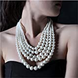 Multilayer 5-Strand Creamy White Pearl Fashion Choker Necklace
