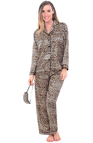 Alexander Del Rossa Women's Button Down Satin Pajama Set with Sleep Mask, Long Silky Pjs, 3X Tan Leopard (A0750P043X)