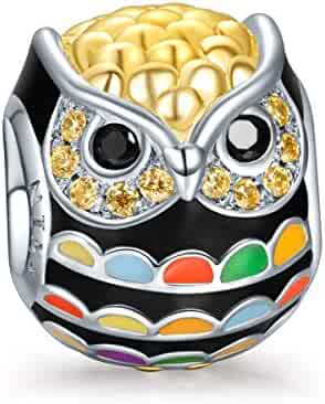 NinaQueen Wise as Owls 925 Sterling Silver Gold Plated Animal Lovers Charms, Multicolor Enamel Bead well for Necklaces Jewelry as Mothers Day Gifts with a Luxury Gift Box