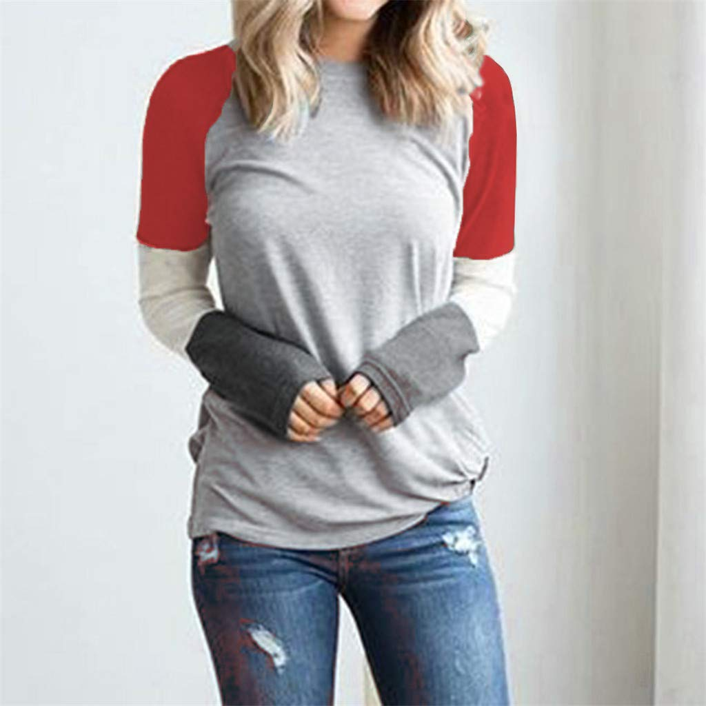 Rakkiss Womens Pullover Blouse Ladies Casual Long Sleeve Tops Patchwork Tops Plus Size Loose Crew Neck Sweatshirt S-XXL