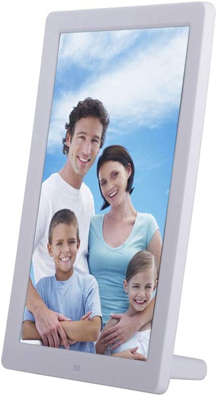 Digital 1280800 Photo Frame with 16:10 Display Video Player MP3 Calendar 1080P Video USB SD Slot Calendar Alarm Supported and Multi Slideshow Modes,White