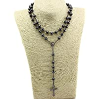 Nonmagnetic Hematite Stone Beads Rosary 8mm Black Catholic Necklace Holy Soil Medal & Cross