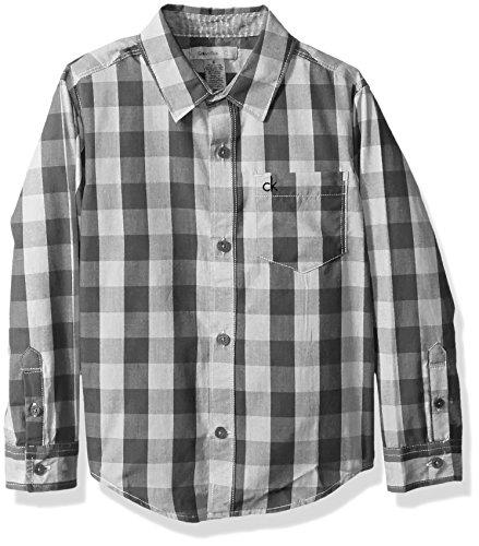 Calvin Klein Boys Radio Bold Check Long Sleeve Shirt with Contrast Trim