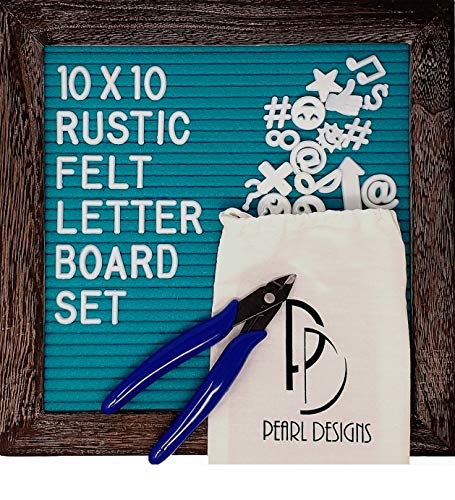 (Rustic Felt Letter Board Set, Teal Blue Felt and Gray Wood Frame with Stand and Wall Hanger, 346 White Characters, Clippers & Letters Storage Bag (10x10 in. Turquoise))