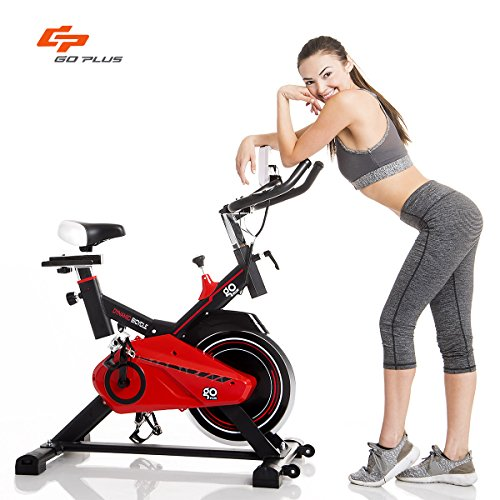 Goplus Exercise Bike Indoor Cycle Bike Stationary Trainer Bicycle with 28lbs Flywheel Cardio Adjustable Workout Bike by Goplus