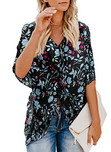 ZKESS Womens Casual Boho Pattern Shirts Batwing Short Sleeve V Neck Floral Print Twist Tops Blouse for Jeans Multi2 Large Size