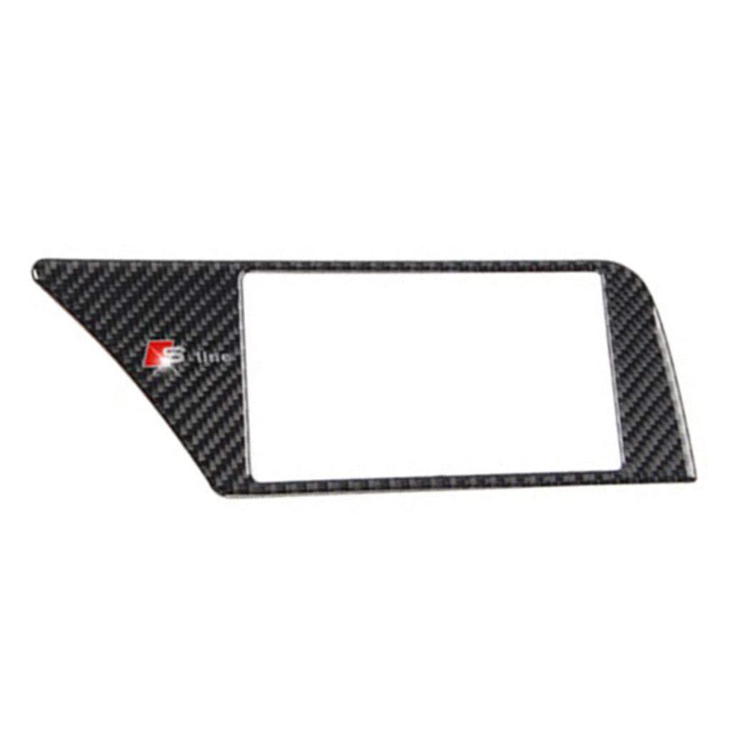 Republe in Fibra di Carbonio di Navigazione GPS Schermo Telaio Sostituzione del Pannello di Copertura Trim Autoadesivo Adesivo Posteriore per A4 B8 2009-2016