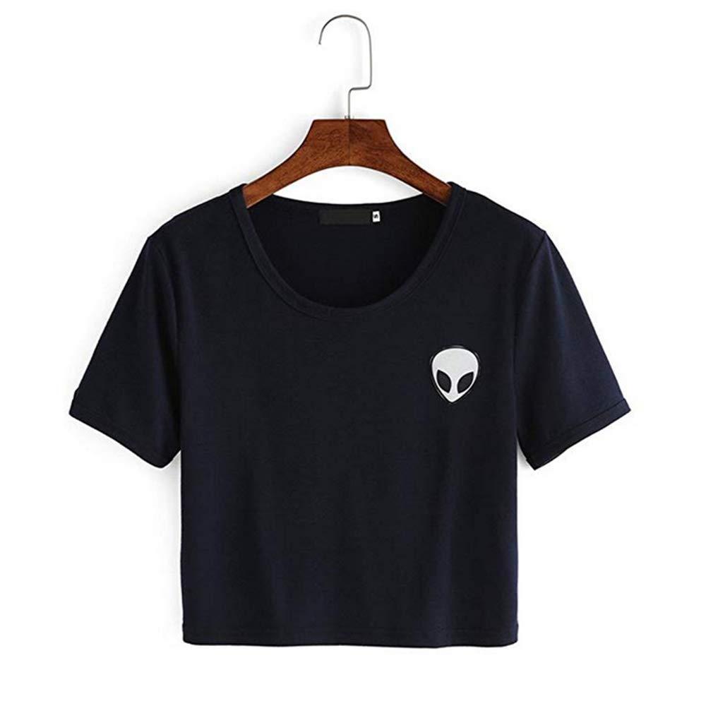 DHUIKR Donna Alieno Stampa Collo Rotondo Crop Top Maniche Corte T-Shirt Tinta Magliette Cime Camicie