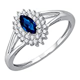 Diamond and Marquise Cut Sapphire Anniversary Ring in Sterling Silver (1/2 cttw) (GH-Color, I2/I3-Clarity) (Size-12.5)