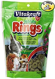 Pack of 3, Healthy Vitamins & Minerals Nibble Rings Treats for Small Animal