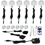 AIBOO Wireless LED Kitchen Under Cabinet Lighting Dimmable with RF Controller,UK Plug,Splitter Connector and 6 Pcs 12V LED Puck Lights, Total of 12W,for Kitchen Lighting, Worktop Lighting (5000K)