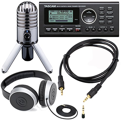 Guitar Studio Bundle Including Tascam GB-10 - USB Guitar/Bass Trainer/Recorder + Samson SR 550 Over-Ear Studio Headphones + Samson Meteor Mic USB Studio Microphone + Auxiliary Cable