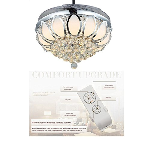 Luxury Modern Crystal Chandelier Ceiling Fan Lamp Folding Ceiling Fans With Lights Chrome Ceiling Fan With Light Dining Room Decorative with Remote Control (Support Dimming) by LSSD (Image #2)