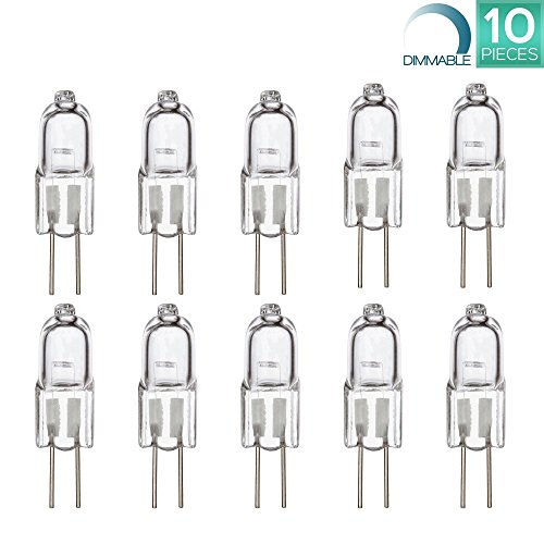 Luxrite LR20910 (10-Pack) Q10T3/G4/12V 10-Watt Halogen Pin Base 12V Light Bulb, Dimmable, 120 Lumens, G4 bi-pin base