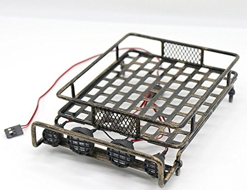 WishRing RC 1:10 Roof Luggage Rack LED Light Bar Wrangler Tamiya CC01 SCX10 Axial 516 (Coppery)