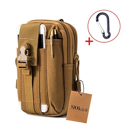 Mokasi@1000D Pouch Nylon Tactical Molle Bag Militarywith a belt loop Utility Waist Pack Pocket Money Purse for iphone 6s 6 plus 5s 5c Samsung Galaxy Note 5 4 3 LG G4 G3 (khaki)