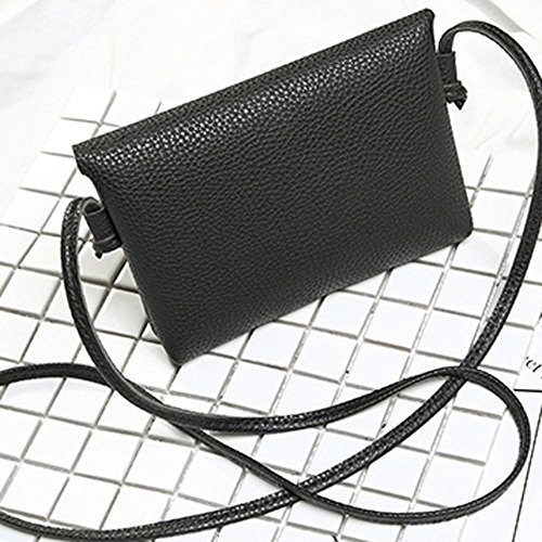 BZLine® Frauen Leder Handtasche Crossbody Schulter Messenger Münze Tasche (Weinrot) Schwarz J9tCaM