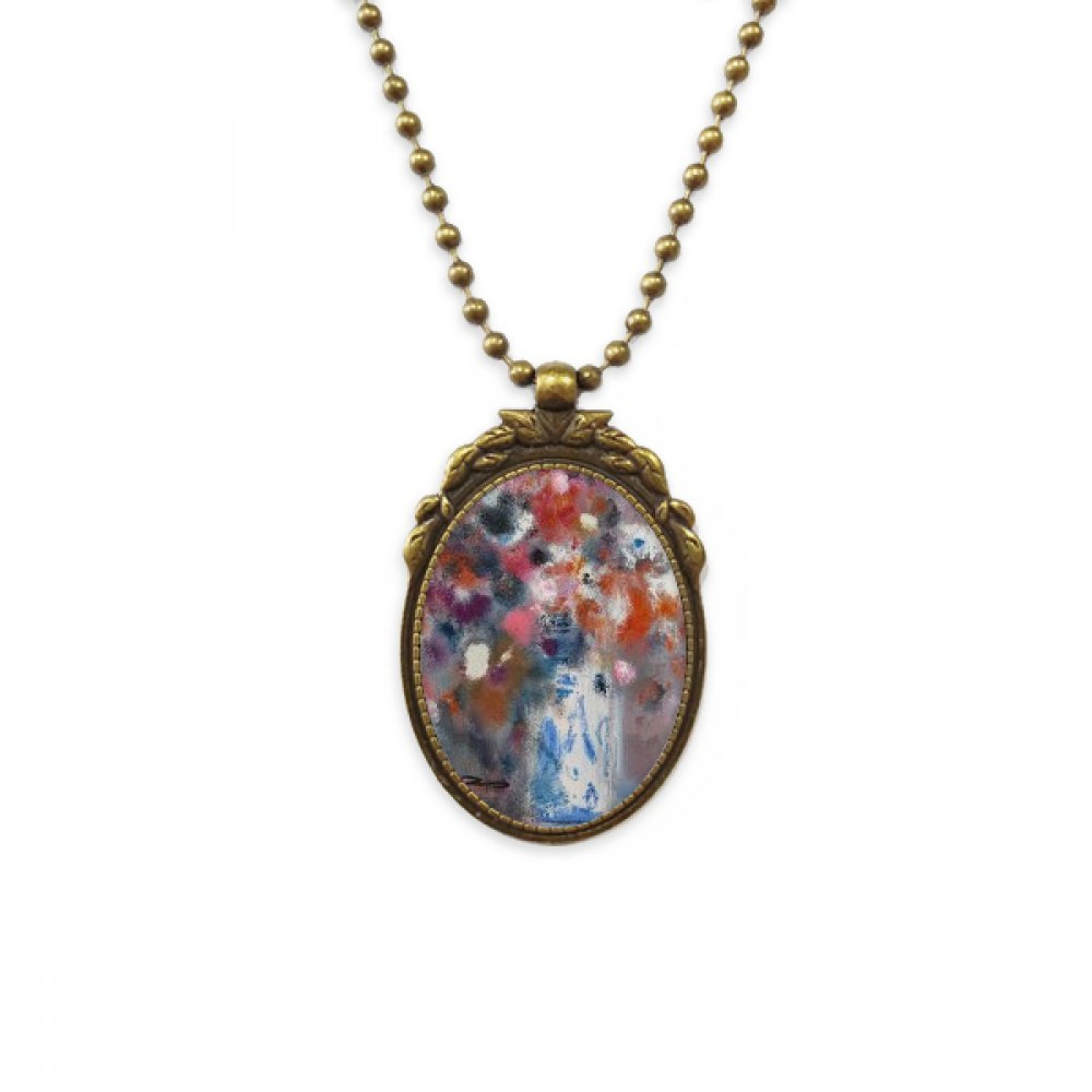 DIYthinker Flowers Colorful XJJ Oil Painting Antique Brass Necklace Vintage Pendant Jewelry Deluxe Gift