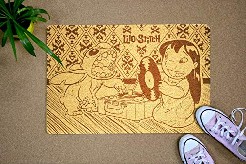 Decor Everything Lilo & Stitch Animated Adventure Film Size 24x16 Inch Door Mat Inside/Outside Hello/Goodbye Mat Rug New Home Christmas Birthday Idea for Kids Teens Girls Boys Daughter Son