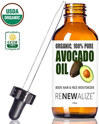 Organic AVOCADO OIL Skin Moisturizer - Cold Pressed and Unrefined in LARGE 4 OZ. DARK GLASS BOTTLE with Glass Eye Dropper | Enhances Hair's Natural Shine | Softens and Moisturizes Severely Dry Skin