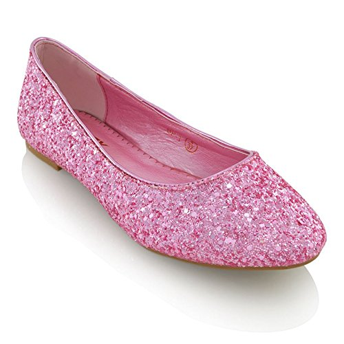 [Essex Glam Womens Pink Glitter Bridal Dolly Pumps Shoes 9 2A(N) US] (Pink Flat Ballet Pump)