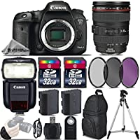 Canon EOS 7D Mark II DSLR Built-In GPS Camera + Canon 24-105mm IS USM Lens + Speedlite 430EX III RT + 64GB Storage + Backup Battery + UV-CPL-FLD Filters + Wrist Grip Strap - International Version