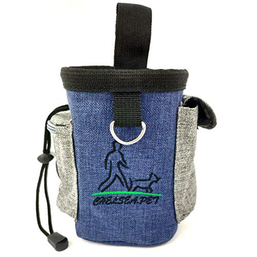 Pets Treat Pouch with Adjustable Waist Belt, Hands Free Drawstring Oxford Cloth Bag Easy Wash for Training Dogs, Cats,Dolphins,and Birds,Carrying Toys, Food,Snack, Poop Waste (deep blue with gray)
