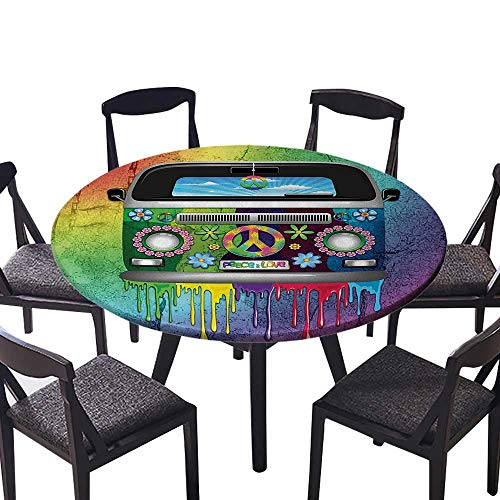 Birch Dresser Youth - Round Premium Tablecloth Old Style Hippie Van with Dripping Rainbow Paint Mid s Youth Revoluti MOV for Wedding Banquet 67