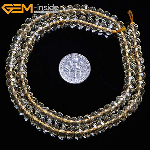 - Calvas Gem-Inside AAA Natural Faceted Heishi Rondelle Disc Spacer Beads Citrines Quartz Beads for Jewelry Making Strand 15'' DIY - (Color: 4x6mm)