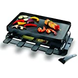 Swissmar KF-77041 Classic 8-Person Raclette  with Reversible Cast Aluminum Non-Stick Grill Plate/Crepe Top, Black