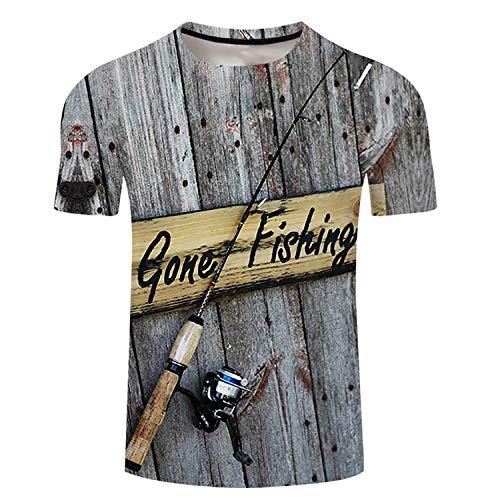 Mens 3d T-shirt Fish Tee Shirts Casual Tops Hip Hop Streetwear Plus Size Tee Angler Letter Printing Tshirts