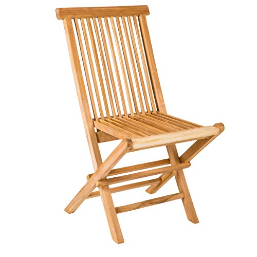 Yankee Trader Set of 2 Traditional Teak Folding Wooden Chairs for Outdoor Patio, Backyard or Garden