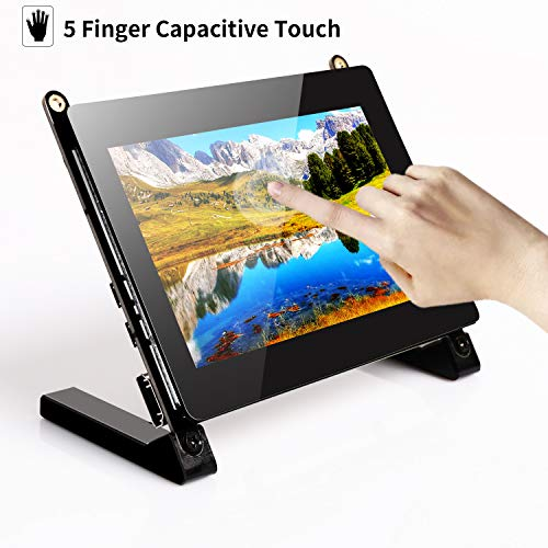 UPERFECT Touch Screen 5 Inch Portable Monitor 800×480 LED 16:9 Display Contrast 700:1 Built-in Dual Speakers 60HZ Compatible with HDMI USB Raspberry Pi Xbox 360 PS4 PC Mac iOS Windows 7 8 10