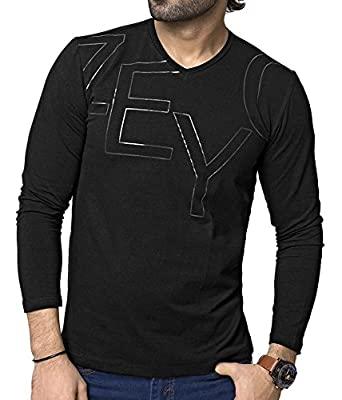 84124c2c1640 ZEYO 4 Way Stretch Cotton Mens Tshirt Full Sleeve Black - Printed t Shirt -  v Neck Regular fit tee: Amazon.in: Clothing & Accessories