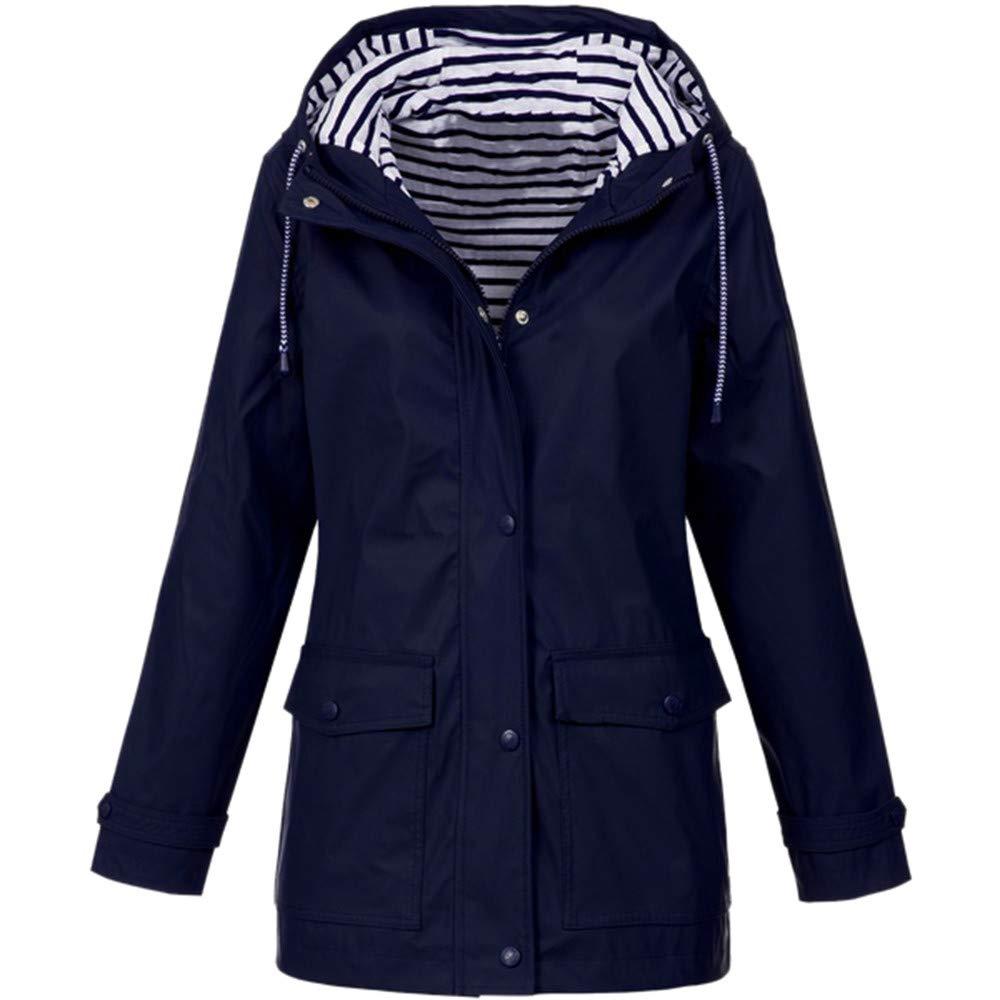 Pandaie Women Softshell Jacket Hooded Rain Jacket Waterproof Windproof Outdoor Windbreaker Raincoat Parka Long Dark Blue by Pandaie