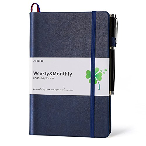 AHGXG Planner 2018-2019, Best Undated Daily&Weekly Academic Planner Agenda for Productivity, Happiness and Hit Your Goals, Organizer with Pen Holder Back Pocket with Note Pages, 8.5''x5.7'', (Agenda Pen)
