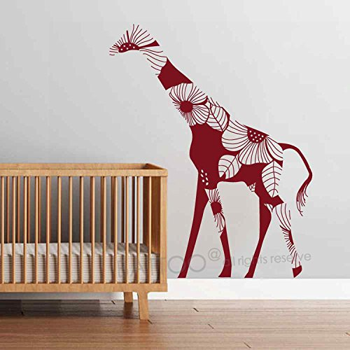 BATTOO Floral Giraffe Wall Decal Vinyl Bold floral Giraffe Wall Stickers Jungle Safari Theme Living Room Decor(28